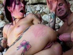 Busty Tattooed Babe Sucks And Analed By Her Bf In The Beach