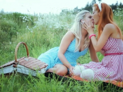 lesbians with huge boobs on a road trip have sex outdoor