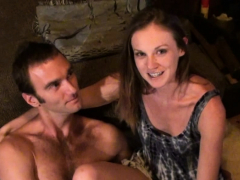 adorable brunette blowing dick and getting rammed