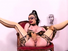 busty latex doll rubbing