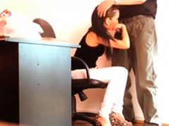 brunette public work office blowjob