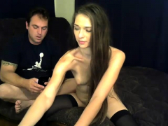 horny amateur brunette chick blowing and fingered on webcam