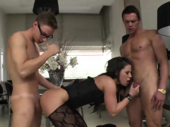 Busty Sluts Brunette Throats And Fucked By Two Big Cocks