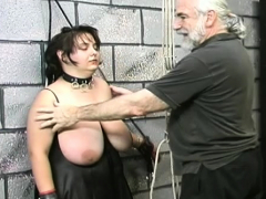 naked slut servitude at home with lewd man