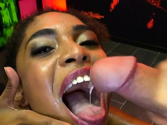 Ebony Luna Riding And Sucking Hard Cocks And She Gets Cums