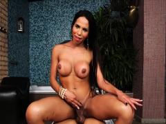 Latina sheshaft rided big cock