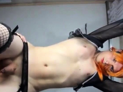 Skinny femboy drops his milk while he is getting pegged