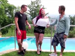redhead-german-tattoo-cougar-red-storm-at-threesome-in-villa