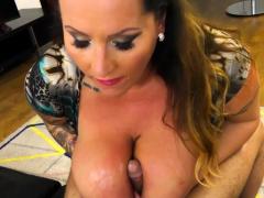 Milf with massive boobs tit fucks