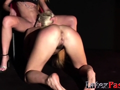 big titted blonde dyke sub whipped and eating mistress pussy