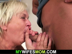 Boozed hairy-pussy blonde mother inlaw craving his cock