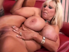 Blonde cougar with giant tits fucked hard