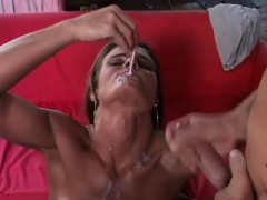 Brunette is addicted to the taste of jizz