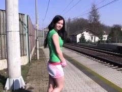 Hot Slut Solo Teen Masturbating At The Train Station