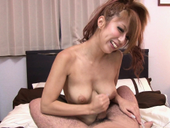 Japanese housewife, Haru Sakuraba rubs dick, uncensored