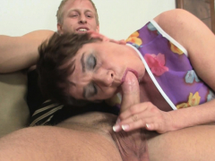 Old grandma loves sucking and riding his horny big cock