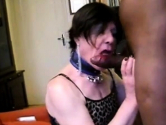 Slut tranny sucks and swallows