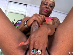 Heavenly blonde ts Holly Hung eagerly sucking off