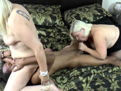 Grandmother in interracial threesome