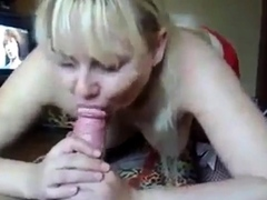 Fat russian whore made BJ and sat on cock