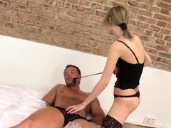Skinny femdom punishing her bound cbt subject