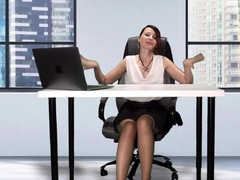 downblouse-at-work-boss-flashing-her-tits-and-pussy