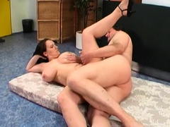 Overwhelming Jenny with massive natural tits blows well