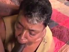 Adorable Amateur Granny Teases Balls During Blowjob