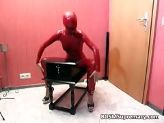 Nasty Babe In Red Latex Cloth Gets Her Part2
