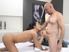 Teens with old guys Hot fuck-fest after a steamy bath