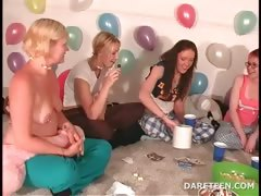 Party CoEds Topless After a game of Truth or Dare
