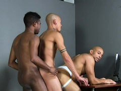YoungPerps - Teen Boys Threesome With Bald Security