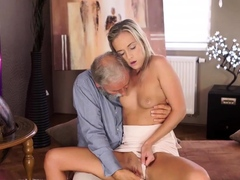 OLD4K. Sex of old pedagogue and sexy chick ends