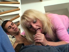Old Blonde Mother-in-law Riding His Huge Dick