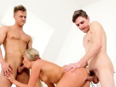 Foxy blonde joins bisexuals in a threesome