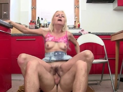 60 years old blonde mother inlaw rides his dick