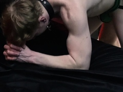 Leather muscle man Logan fucks anonymous ginger guy bare