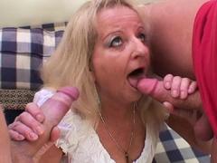 80 years old blonde grandma swallows two huge dicks