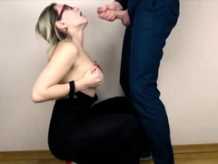 Sexy Secretary Gives A Great Blowjob and facefuck