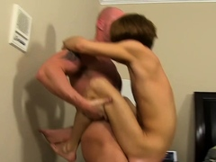 Bald daddy Mitch Vaughn makes bottom twink Kyler Moss cum