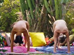MILF yoga trainer and a teen practicing