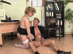 Hot office mature in white stockings rides big cock