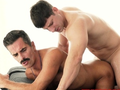 Hung blond twink barebacks two daddy coaches