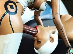 A sexy female adroid shemale plays with a young blonde