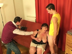 Two young guys film porn movie with fat old woman