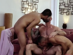 Hunk gays anal treesome with stepdad