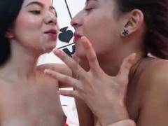 Beautiful amateur brunette lesbians at play