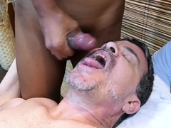 Mature DILF spitroasted by Asian twinks