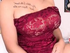 Amateur big cock and big tits tranny solo