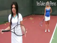 Two Horny Babes Play Tennis Then Share On Cock And Cum